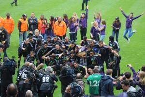 Anderlecht celebrate a previous championship win (after the playoffs)