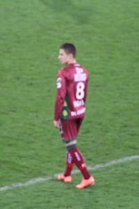 Thorgan Hazard wearing a Zulte Waregem shirt