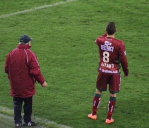 Zulte Waregem's Thorgan Hazard - waiting his opportunity