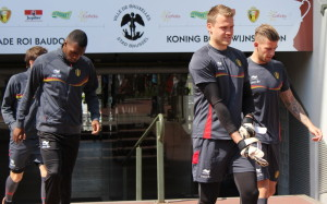 Mignolet, with Benteke and Alderweireld (and Vossen in the background). Copyright John Chapman.