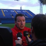 Marc Wilmots chats to journalists before the game
