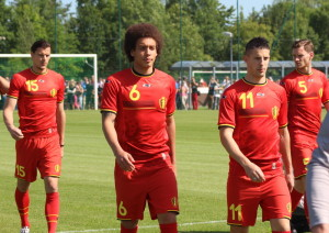 Van Buyten, Witsel, Mirallas and Vertonghen - all likely to start against Algeria. (copyright John Chapman)