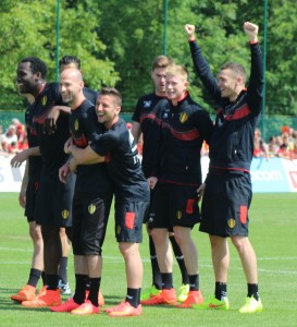 Laurent Ciman (being hugged by Dries Mertens) will say his goodbyes today  (copyright John Chapman)