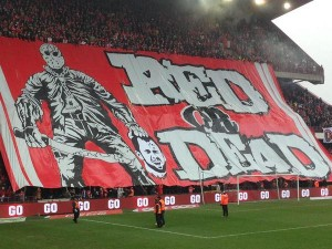 Banner displayed by Standard's Ultras before today's game with Anderlecht.