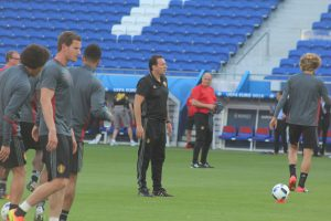 Wilmots at yesterday's final training session.