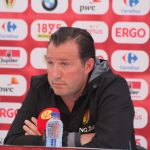 Marc Wilmots facing the press in Bordeaux. (copyright John Chapman)